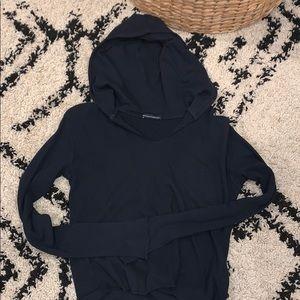 brandy melville navy blue v neck hoodie